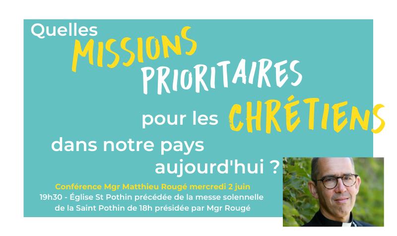 Fête de la Saint Pothin : conférence de Mgr Matthieu Rougé