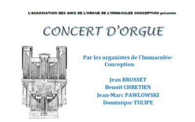 Concert d'orgue à l'Immaculée Conception